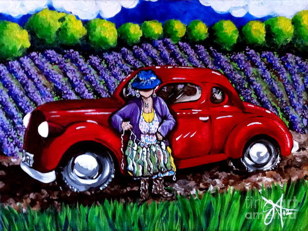 Boot Hill Painting - J. C. 1931 Fishing In Red Grandma Old Car Lavender Fields Jackie Carpenter by Jackie Carpenter