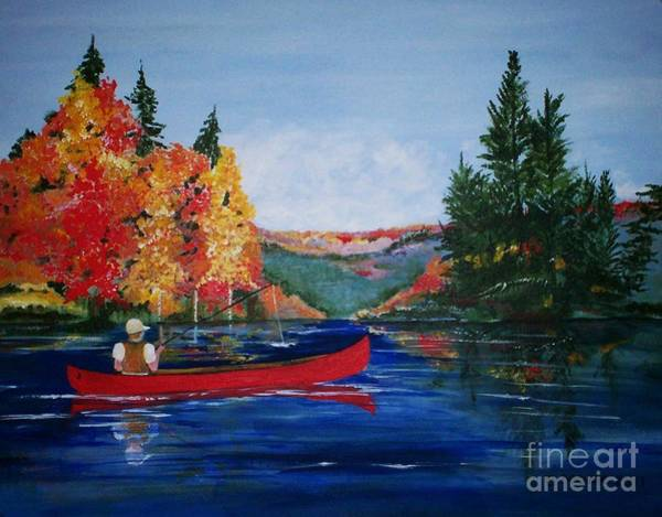 Adirondack Mountains Painting - J Fishing by Barbara Moak