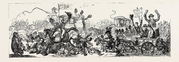 Wall Art - Drawing - J. Gillray Posting To The Election, A Scene On The Road by English School