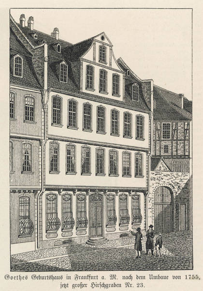 Wall Art - Drawing - J W Von Goethe His Birthplace by Mary Evans Picture Library