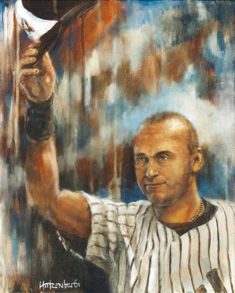 Hitter Painting - Jeter by Josh Hertzenberg