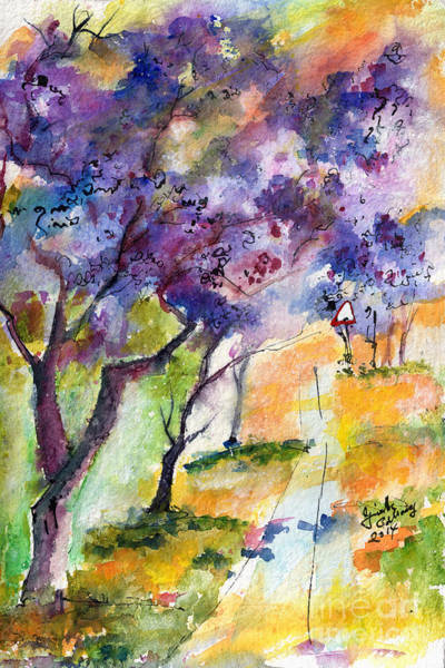 Painting - Jacaranda Trees Watercolor And Ink By Ginette by Ginette Callaway