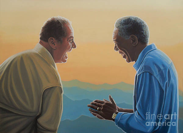 Wall Art - Painting - Jack Nicholson And Morgan Freeman by Paul Meijering