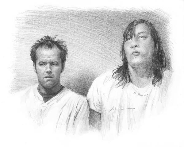 Cuckoo Drawing - Jack Nicholson Cuckoos Nest Pencil Portrait by Mike Theuer