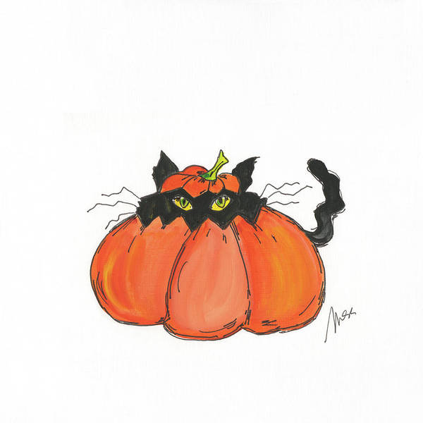 Wall Art - Painting - Jack O Cat by Molly Susan Strong