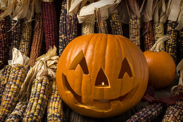 31st Photograph - Jack-o-lantern And Indian Corn  by Garry Gay
