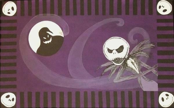 Skellington Painting - Jack Skellington With The Oggie Boogie Floor Cloth 2012 by Cindy Micklos