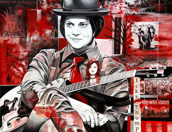 Red And White Painting - Jack White by Joshua Morton