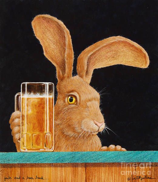 Beers Wall Art - Painting - Jack With A Beer Back... by Will Bullas