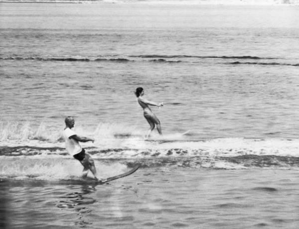 Hyannis Photograph - Jackie & John Glenn Water Ski by Underwood Archives