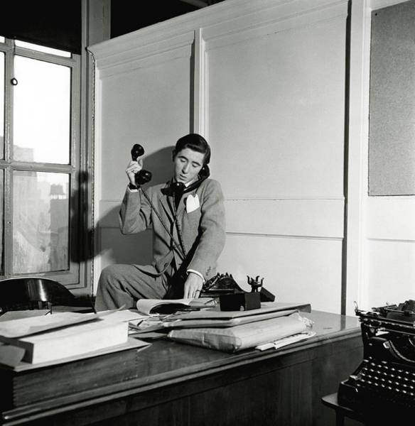Office Furniture Photograph - Jackie Grimes Taking A Phone Call by Frances McLaughlin-Gill