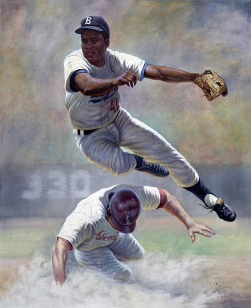 Hitter Painting - Jackie Robinson by Gregory Perillo