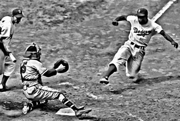 Jackie Robinson Wall Art - Painting - Jackie Robinson Stealing Home by Florian Rodarte