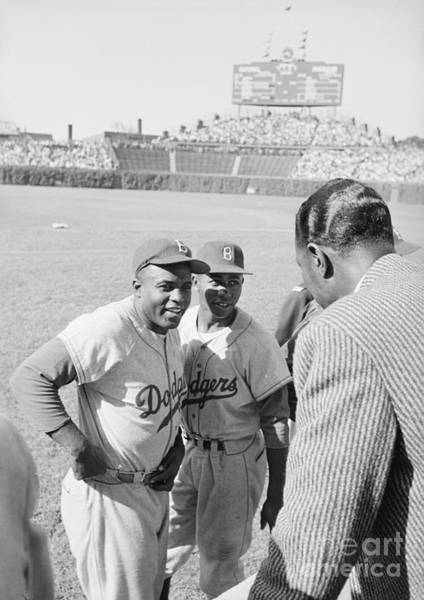 Jackie Robinson Wall Art - Photograph - Jackie Robinson With Hank Aaron And Nat King Cole  by The Harrington Collection