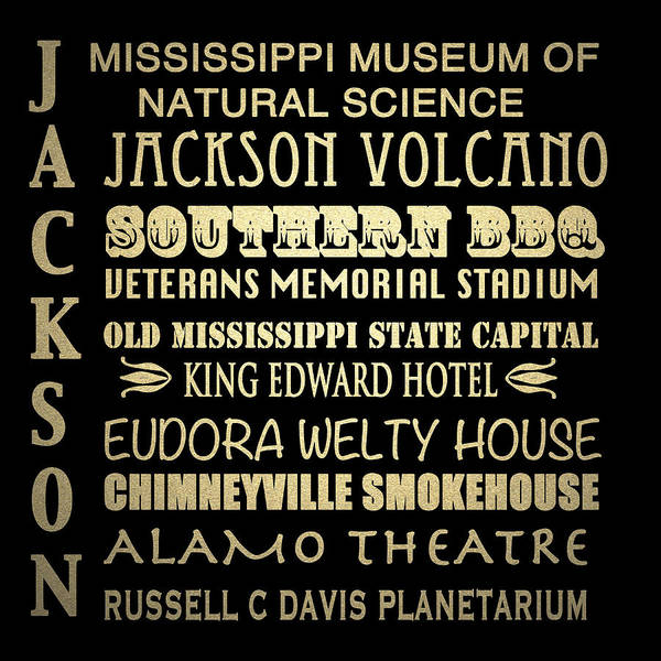 Bbq Digital Art - Jackson Mississippi Famous Landmarks by Patricia Lintner