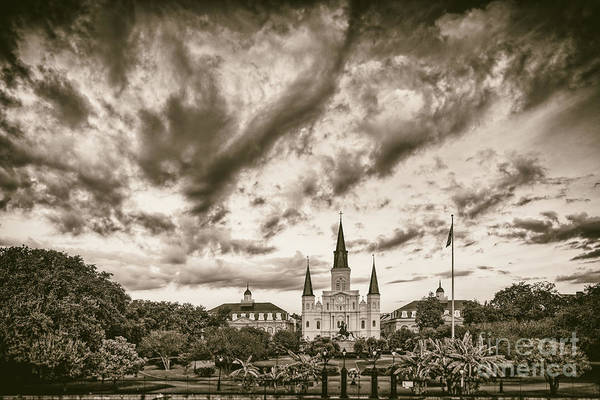 Cabildo Wall Art - Photograph - Jackson Square And St. Louis Cathedral In Black And White - New Orleans Louisiana by Silvio Ligutti