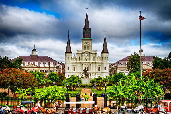 Cathedral Photograph - Jackson Square New Orleans by Jarrod Erbe