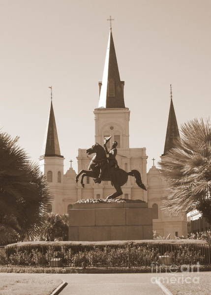 Photograph - Jackson Square Statue In Sepia by Carol Groenen