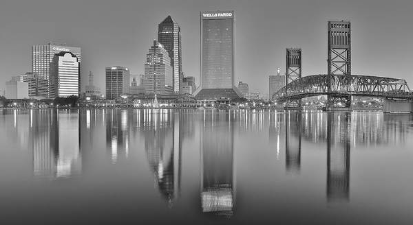 Townscape Photograph - Jacksonville Florida Black And White Panoramic View by Frozen in Time Fine Art Photography