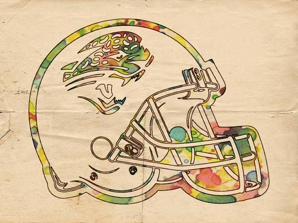 Painting - Jacksonville Jaguars Helmet Art by Florian Rodarte