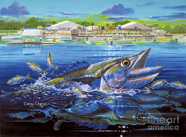 Drum Circle Wall Art - Painting - Jacksonville Kingfish Off0088 by Carey Chen