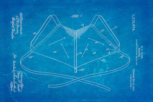 Dressmaker Wall Art - Photograph - Jacob Brassiere Patent Art 1914 Blueprint by Ian Monk