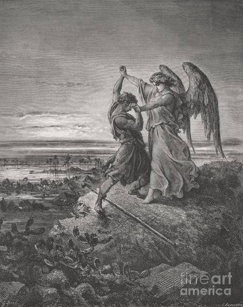 Wall Art - Painting - Jacob Wrestling With The Angel by Gustave Dore