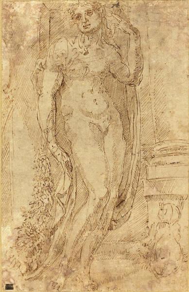 Allegorical Figure Drawing - Jacopo Di Giovanni Di Francesco Italian by Quint Lox