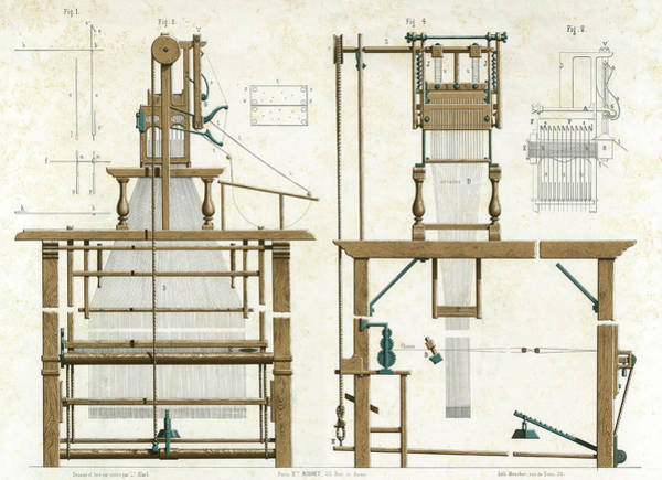 Wall Art - Drawing - Jacquard Loom First Invented 1804 By  J by Mary Evans Picture Library
