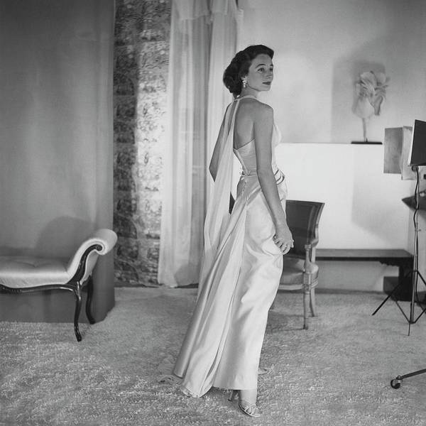 Furniture Photograph - Jacqueline De Ribes Wearing A Desses Dress by Horst P. Horst