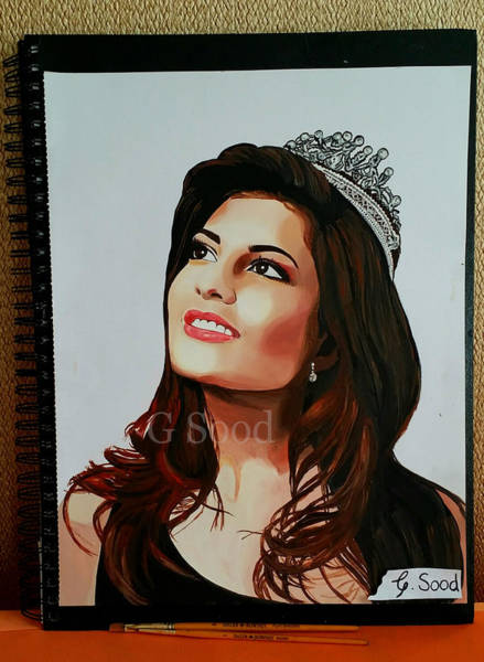 Bollywood Wall Art - Painting - Jacqueline Fernandez Oil Painting by Gitanjali  Sood