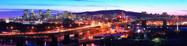 Jacques Photograph - Jacques Cartier Bridge With City Lit by Panoramic Images