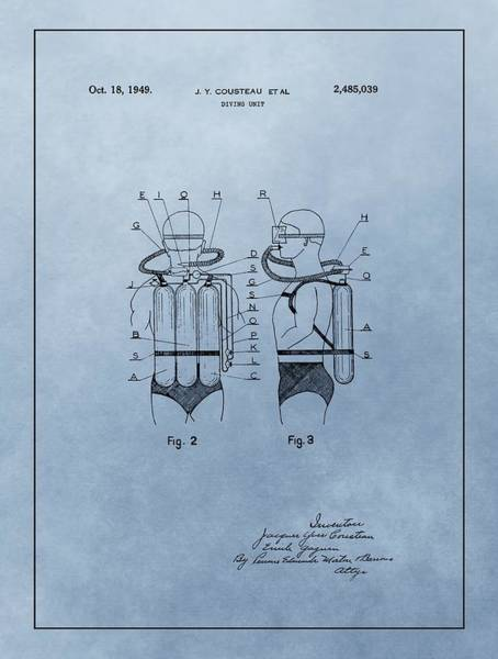 Drawing - Jacques Cousteau Diving Suit Patent by Dan Sproul