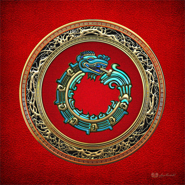 Amulet Digital Art - Jade Serpent God Quetzalcoatl  by Serge Averbukh