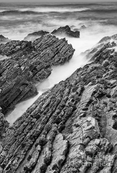 Montana State Photograph - Jagged - Montana De Oro State Park In California In Black And White by Jamie Pham