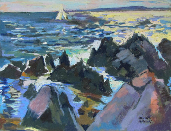 Painting - Jagged Rocks by Linda Novick