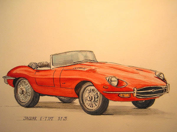 1960 Wall Art - Painting - Jaguar E Type by Juan  Bosco