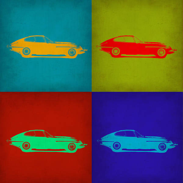 Jaguar Painting - Jaguar E Type Pop Art 1 by Naxart Studio