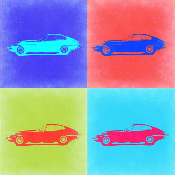 Jaguar Painting - Jaguar E Type Pop Art 2 by Naxart Studio