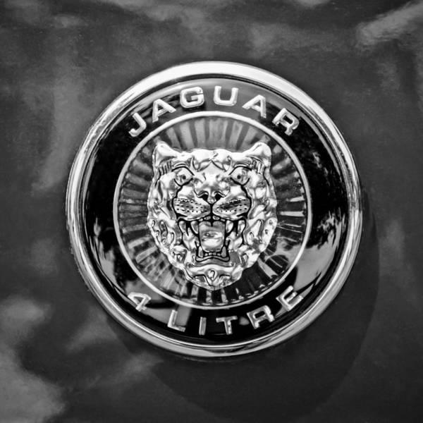 Photograph - Jaguar Emblem -0125bw by Jill Reger
