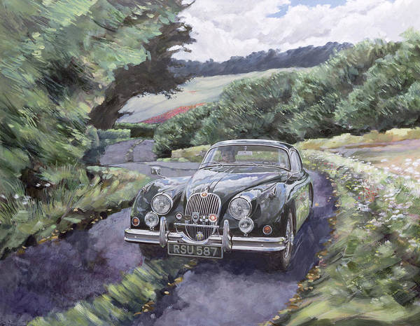 Car Show Painting - Jaguar Xk150 Cruising by Clive Metcalfe