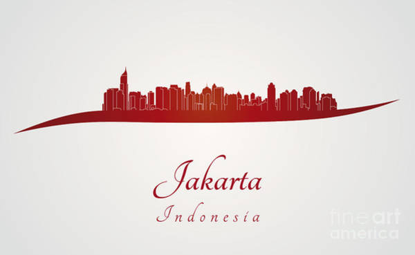 Indonesia Digital Art - Jakarta Skyline In Red by Pablo Romero