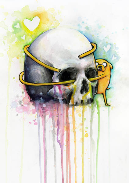 Skulls Wall Art - Painting - Jake The Dog Hugging Skull Adventure Time Art by Olga Shvartsur