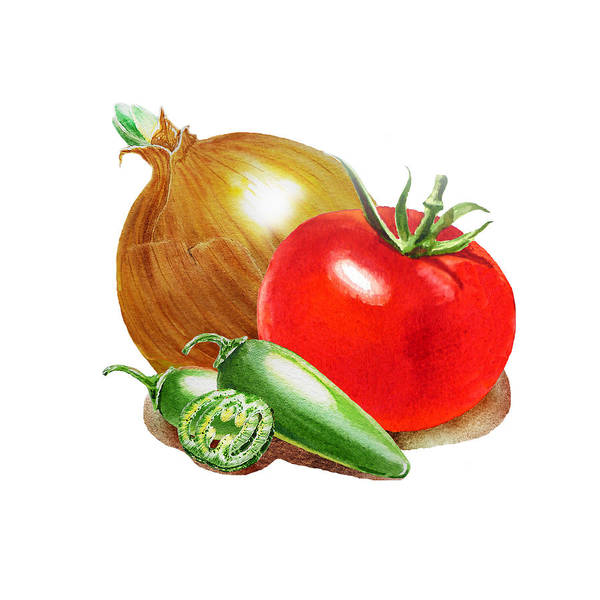 Wall Art - Painting - Jalapeno Onion Tomato by Irina Sztukowski