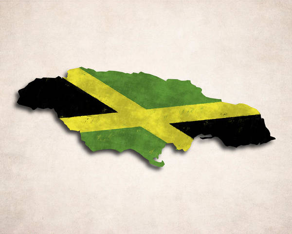 Jamaica Digital Art - Jamaica Map Art With Flag Design by World Art Prints And Designs