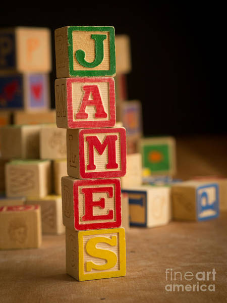 Baby Name Wall Art - Photograph - James - Alphabet Blocks by Edward Fielding