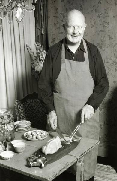 Tray Photograph - James Beard Carving Meat by Ernst Beadle