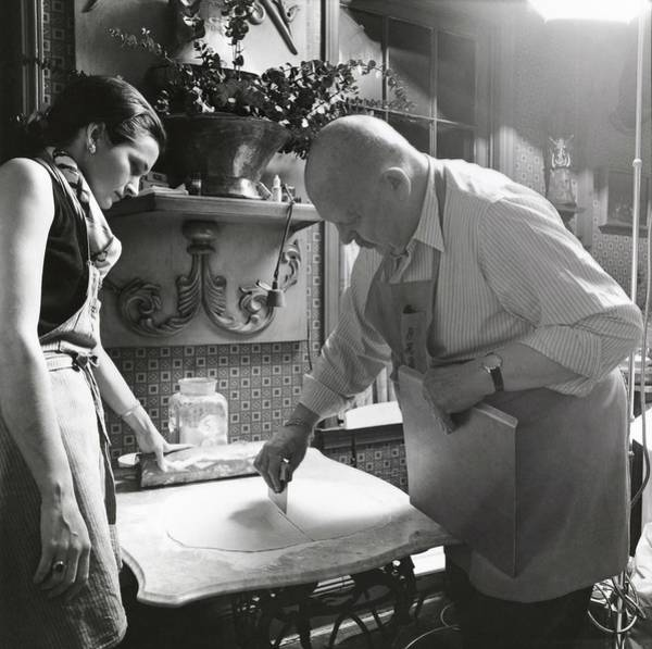 Photograph - James Beard Cutting Pastry by Ernst Beadle