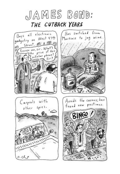 Wall Art - Drawing - James Bond: The Cutback Years by Roz Chast