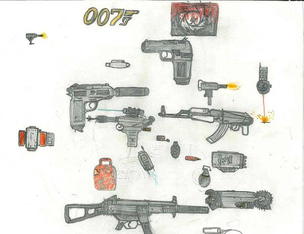 Drawing - James Bond's Weapons by Fred Hanna